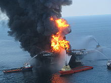 Deepwater Horizon oil rig before the collapse