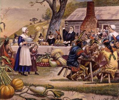 first-thanksgiving-pilgrims-plymouth-meal-398x336