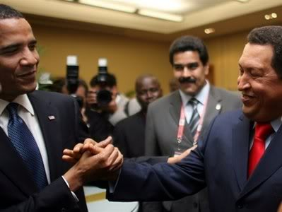 Obama & Chavez at Trinidad Summit, 2009, source unknown, possibly AP