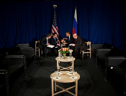 Obama counseling with Russia's Medvedev at UN Climate Change Conference, Copenhagen, 12/18/2009