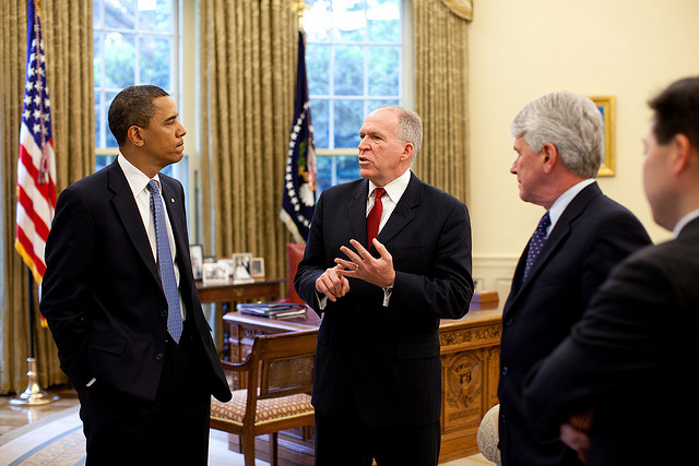 John Brennan with Barack Obama, in Oval Office for a DHS meeting, May 1, 2009