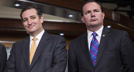 """Sen. Ted Cruz, R-Texas, left, and Sen. Mike Lee, R-Utah, during a news conference with conservative Congressional Republicans at the Capitol in Washington, Thursday, Sept. 19, 2013"""