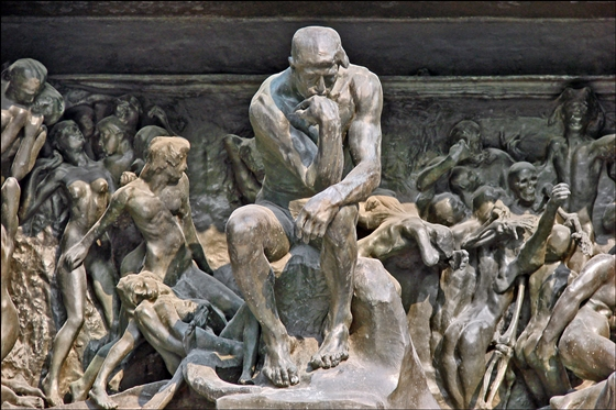 Rodin's Thinker at the 'Gates of Hell'
