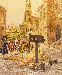 The burning of Johann Peter Zenger's New York Weekly Journal archives