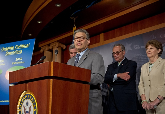"Franken, Schumer, and Shaheen, proposing ""DISCLOSE,"" to limit the more Republican-oriented campaign spending"