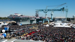 The USS Gerald R. Ford is christened during a ceremony Nov. 9, 2013, at Huntington-Ingalls Industries' Newport News shipyard in Virginia. The Gerald Ford is the first of a new class of aircraft carrier intended to replace Nimitz-class carriers. - U.S. Navy