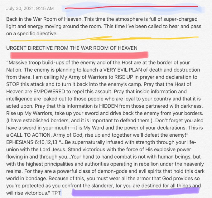 Urgent Directive from the War Room in Heaven, about the Border